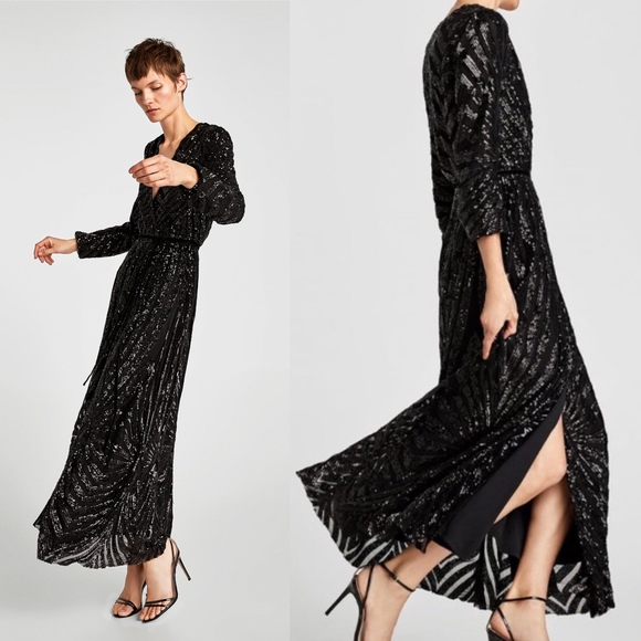 93fe484b400 NWT ZARA Sequin Wrap Crossover Maxi Dress Small